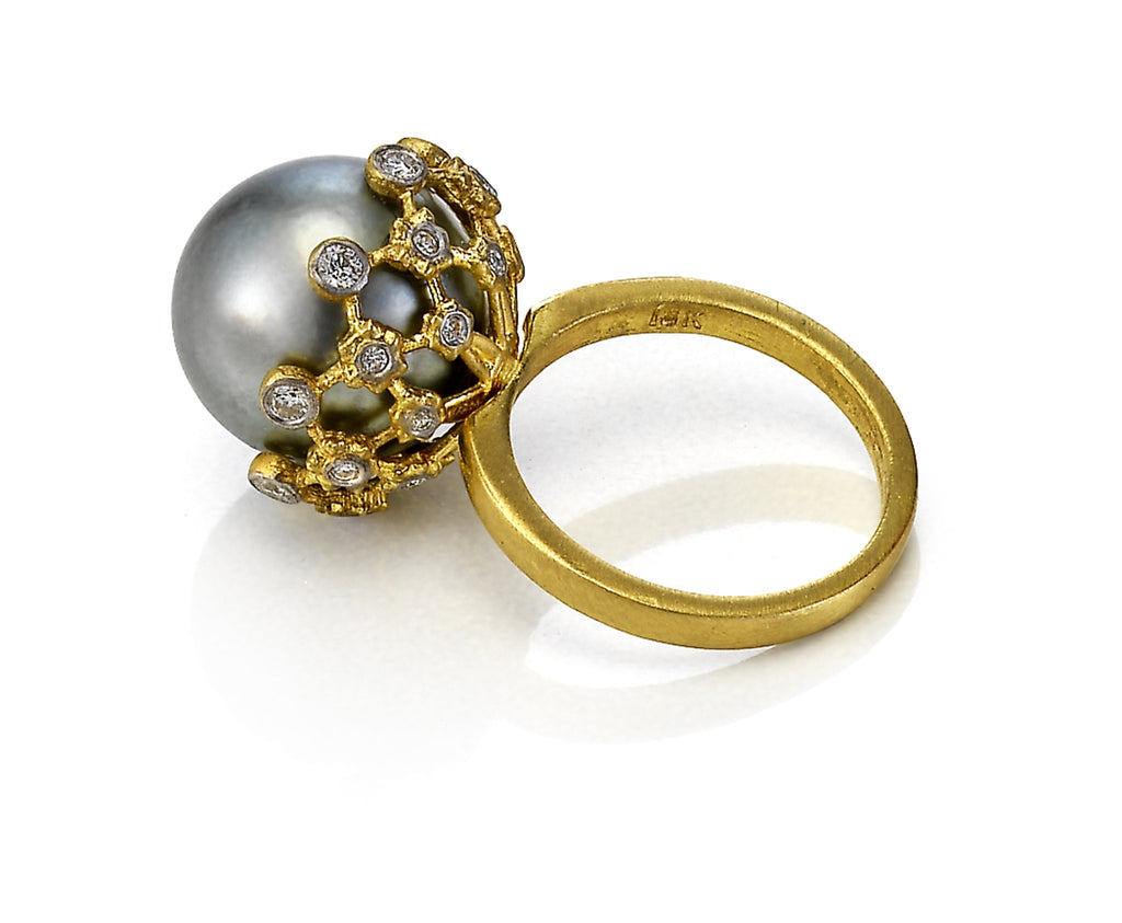 18K Royal Couture Grey Pearl and Diamond Ring