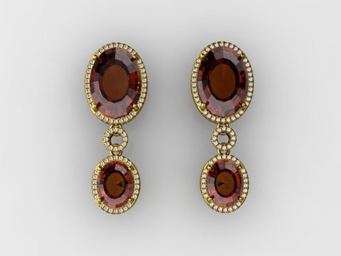 Custom Design Garnet Earrings