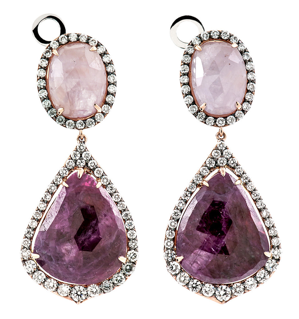Fancy Sapphire, Ruby and Diamond 18K Rose Gold Earrings