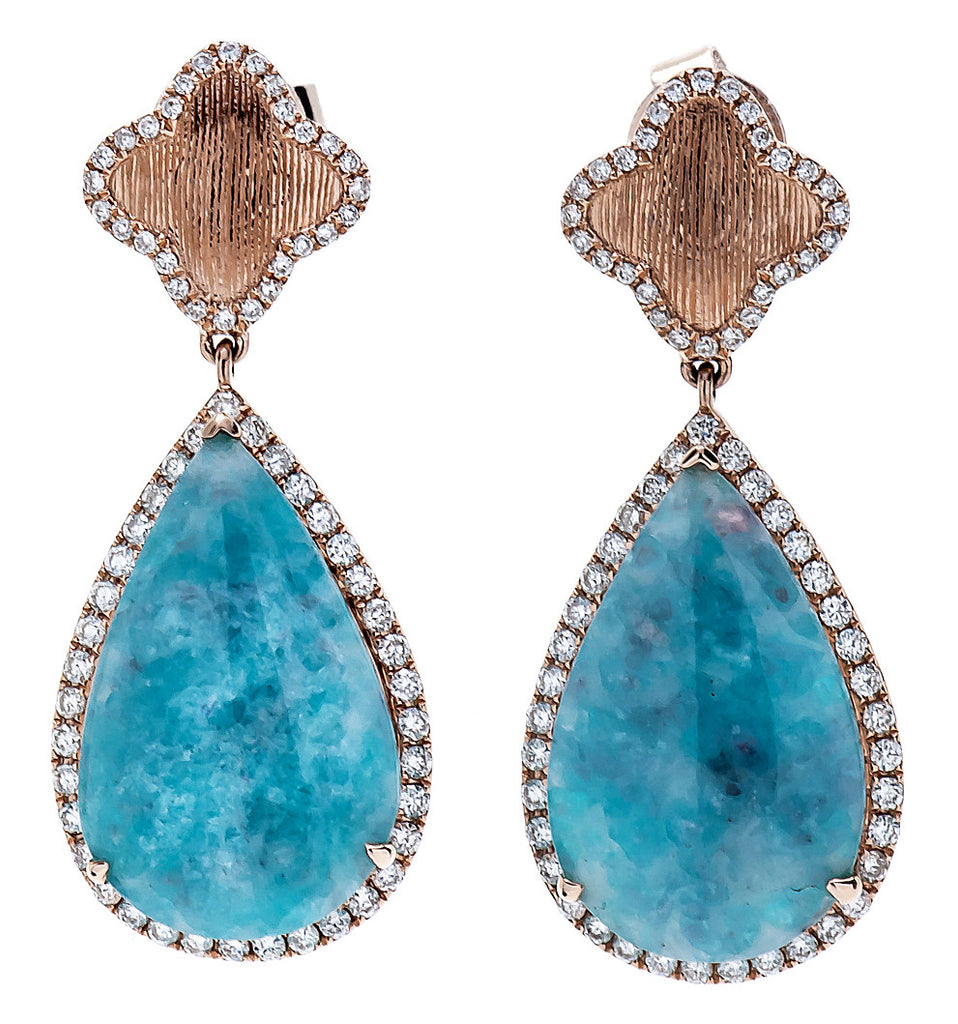 SAMIRA COLLECTION 18K Rose Gold Paraiba Tourmaline Cabouchon Earrings