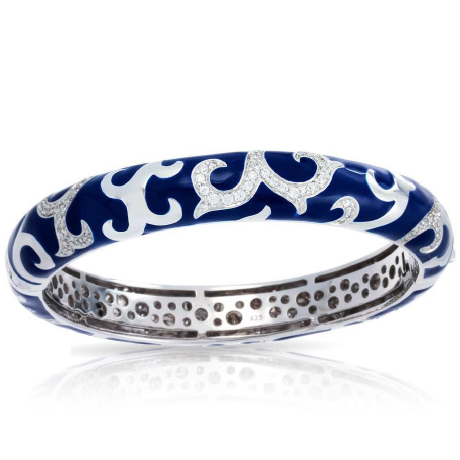 Royal Stackable, Sterling Silver, Italian Blue Enamel & CZ Bangle