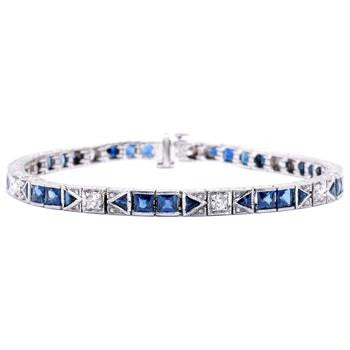 Antique Style Diamond and Sapphire Bracelet