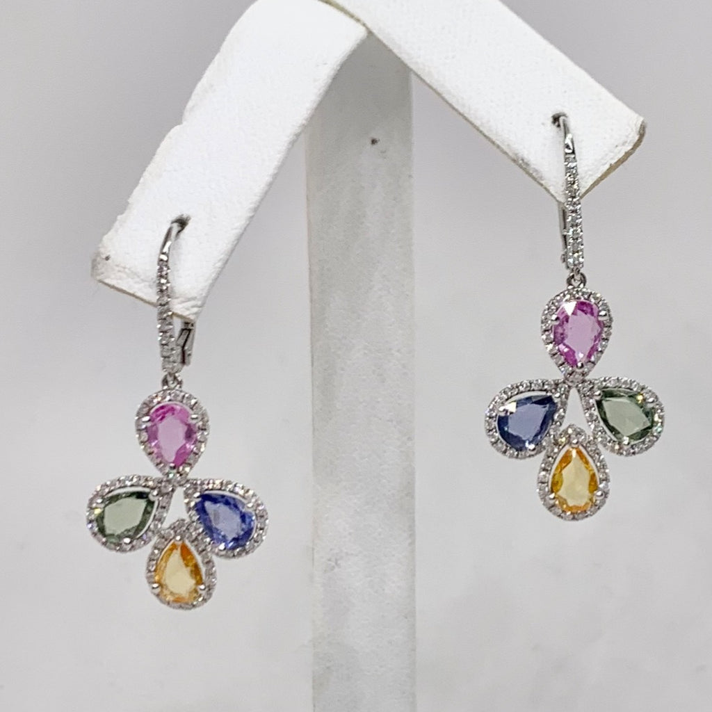 Gorgeous 18K Multicolor Sapphire and Diamond Earrings
