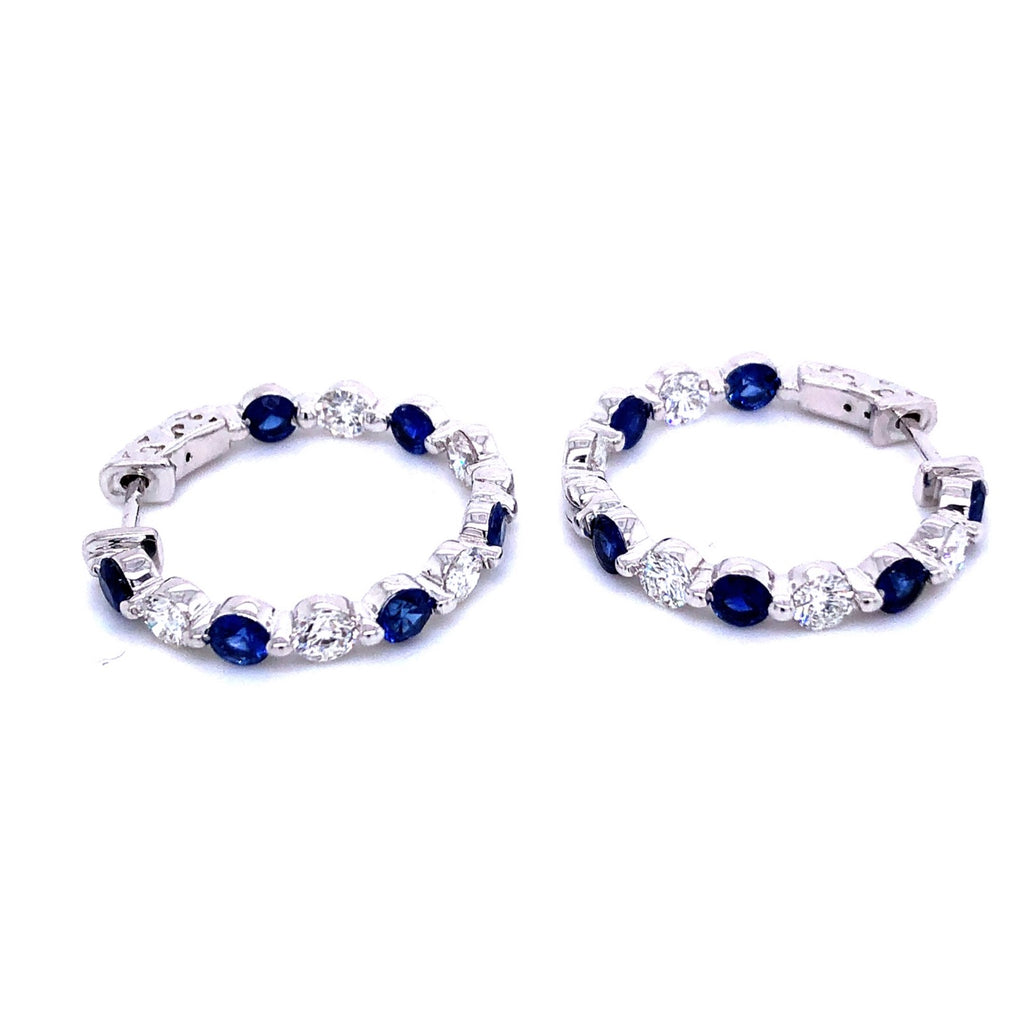18K Diamond & Blue Sapphire Hoop Earrings
