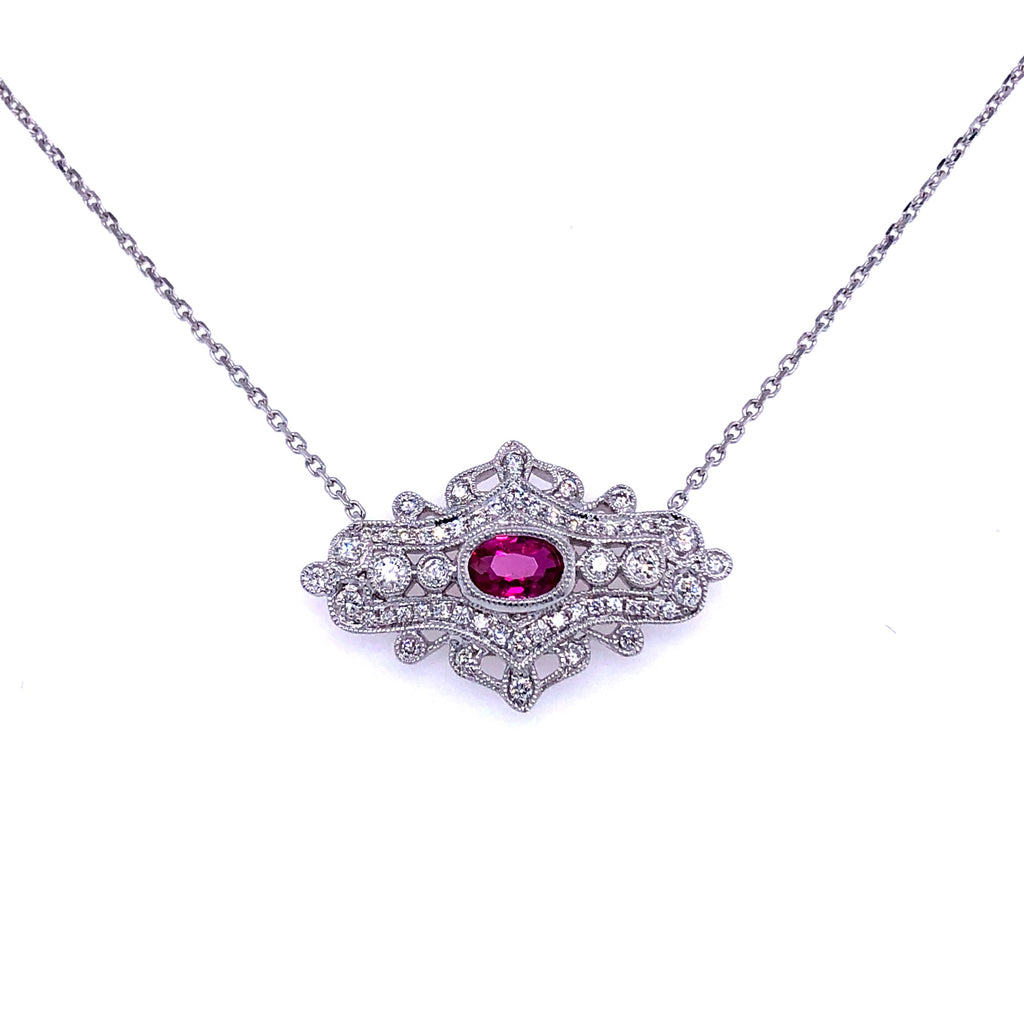 18K White Gold  Diamond & Ruby Necklace