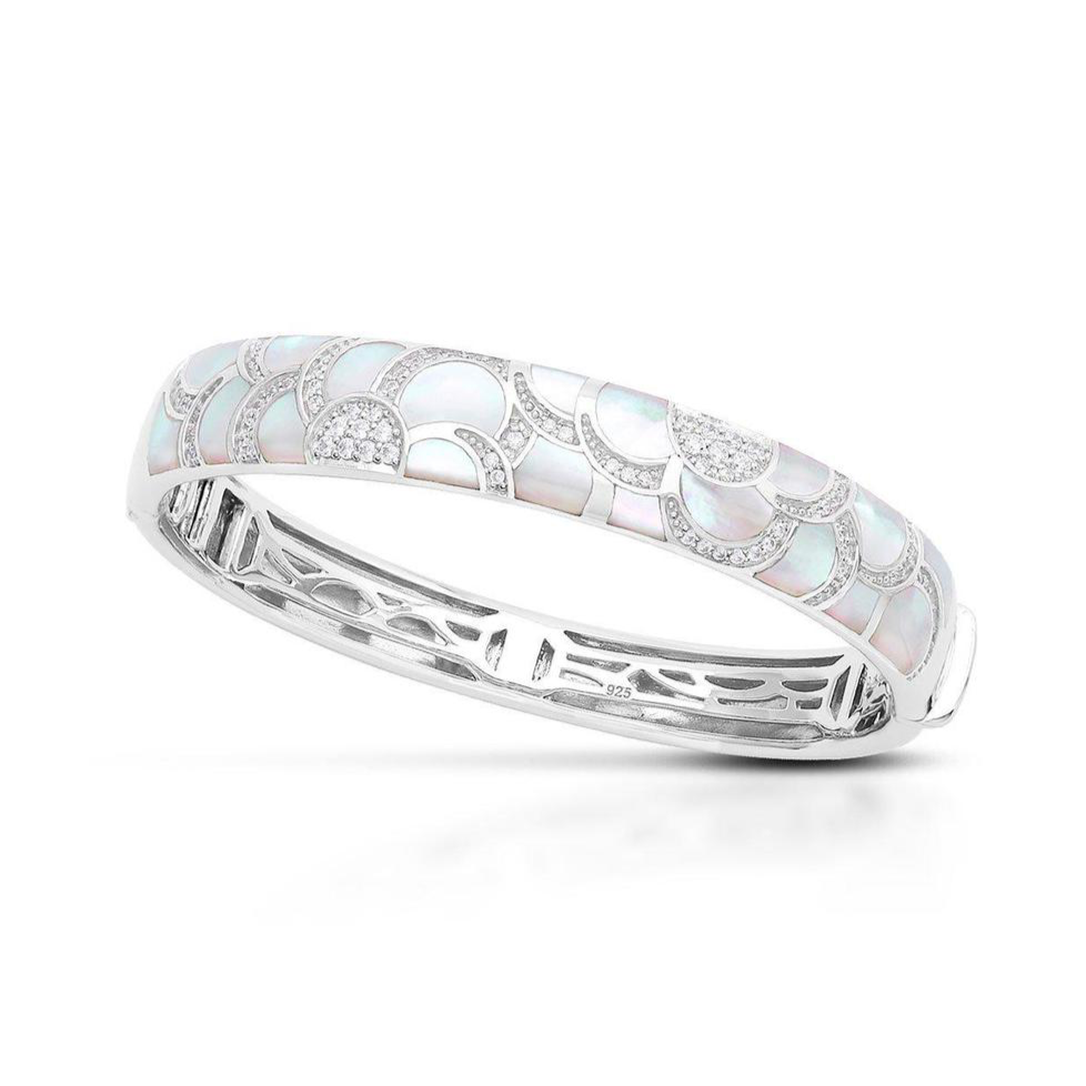 Sterling Silver White Mother of Pearl & CZ Bangle
