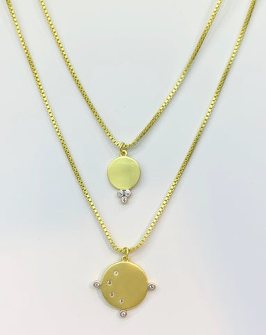 Freida Rothman 14K Gold Vermeil, Sterling Silver, CZ Box Chain Double Nexklace