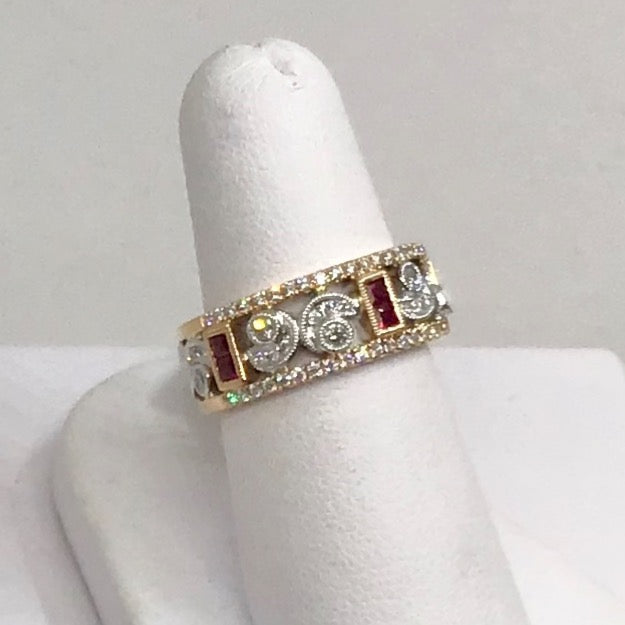 14K White & Rose Gold, Ruby & Diamond Ring