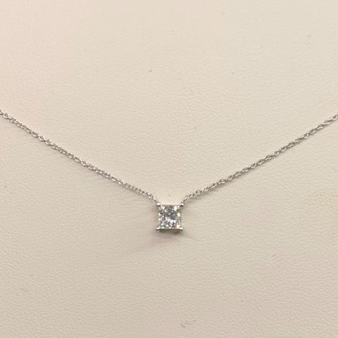 Princess Cut Solitaire Diamond 18K White Gold Necklace