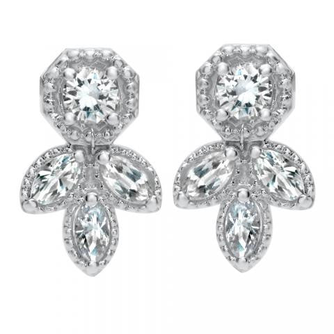 18K and Platinum Diamond Earrings