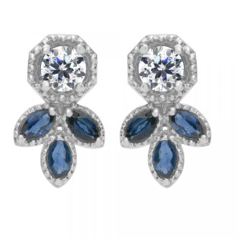 18K and Platinum Diamond and Sapphire Earrings