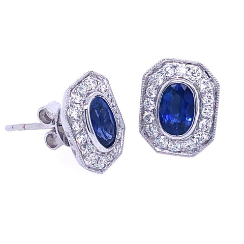 14K White Gold, Diamond & Blue Sapphire Earrings .