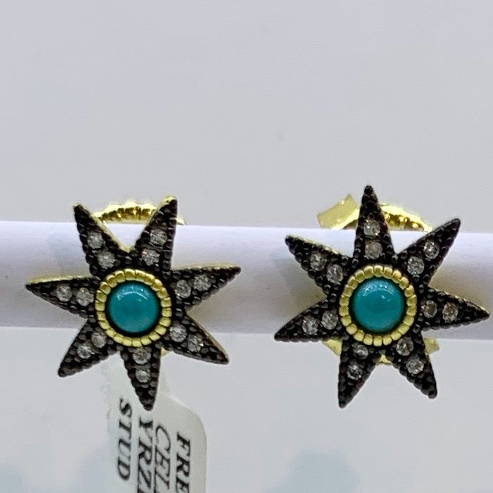 Freida Rothman Sterling Silver, 14K Vermeil, CZ & Turquoise Stud Earrings