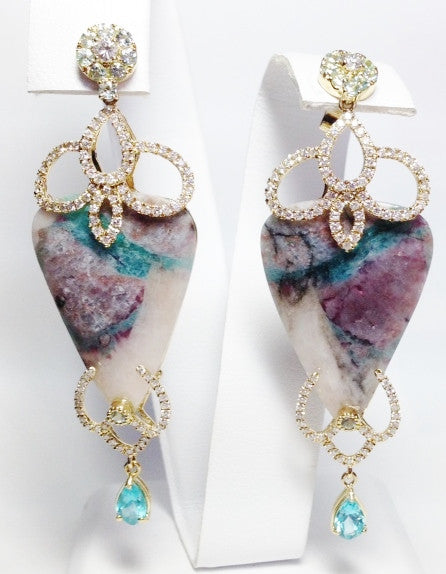 18K Yellow Gold Paraiba, Tourmaline Earrings