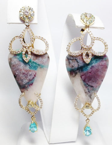 18K Yellow Gold Paraiba Cluster Earrings