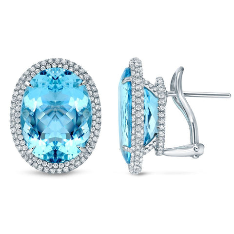 Platinum Aquamarine Earrings with Diamonds