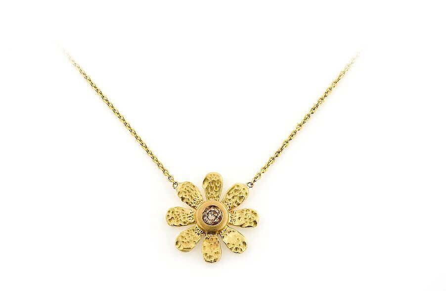14k Small Sunflower & Champagne Diamond Necklace