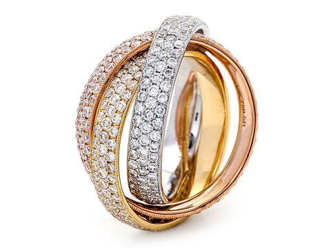 18K White, Yellow, and Rose Gold Ring with Diamonds