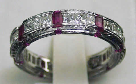 18K White Gold Ruby and Pink Sapphire Ring with Diamonds