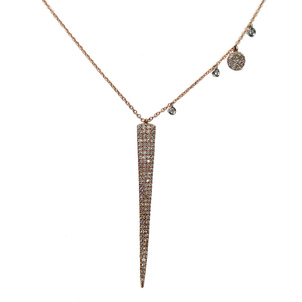 Spike 14K Rose Gold Diamond Necklace