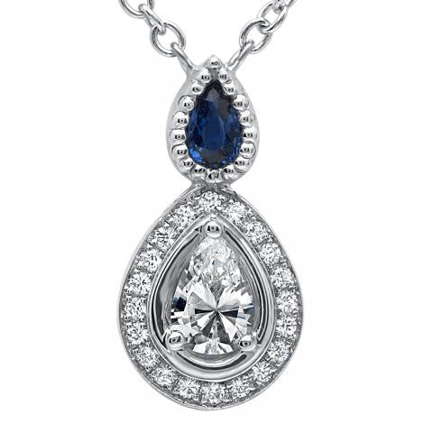 18K and Platinum Diamond and Sapphire Pendant Setting