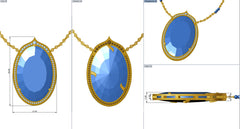 Custom Design 18K Yellow Gold Matte and Polish Finish, Two Sided, White & Cognac Diamond & Labordorite Pendant