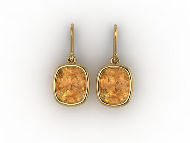 Custom Citrine Yellow Gold Earrings