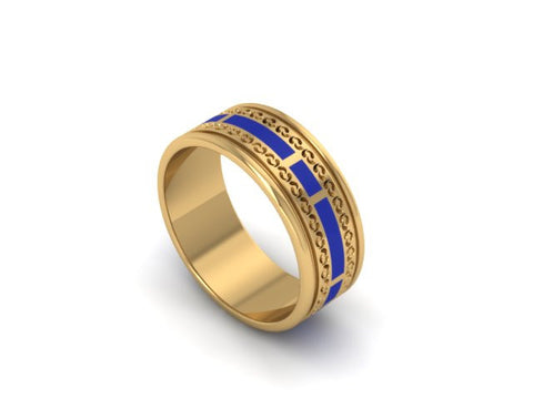 Custom Mens 18K Yellow Gold & Enamel Ring
