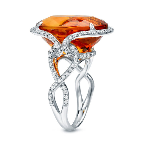 18K White Gold Maderia Citrine Ring with Diamonds