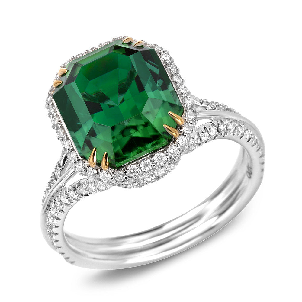 18K White and Yellow Gold Tourmaline Ring