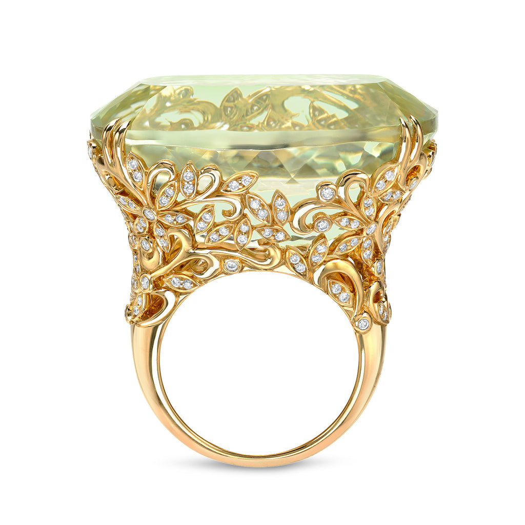 18K Yellow Gold Spodumene Ring with Diamonds
