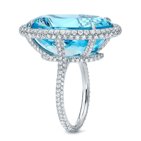 Platinum Aquamarine Ring with Diamonds