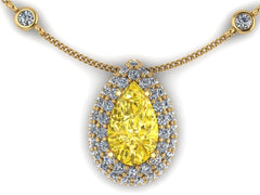 Custom 18K Yellow Gold Yellow Diamond & White Diamond Necklace