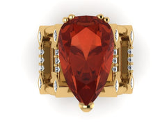 Custom 18K Yellow Gold Ruby & Diamond Ring