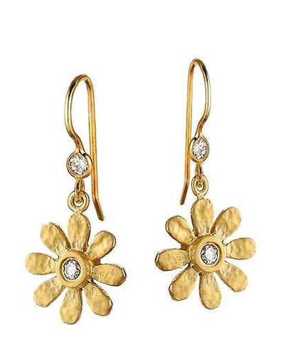 14k Small Sunflower with Champagne Diamond Earrings