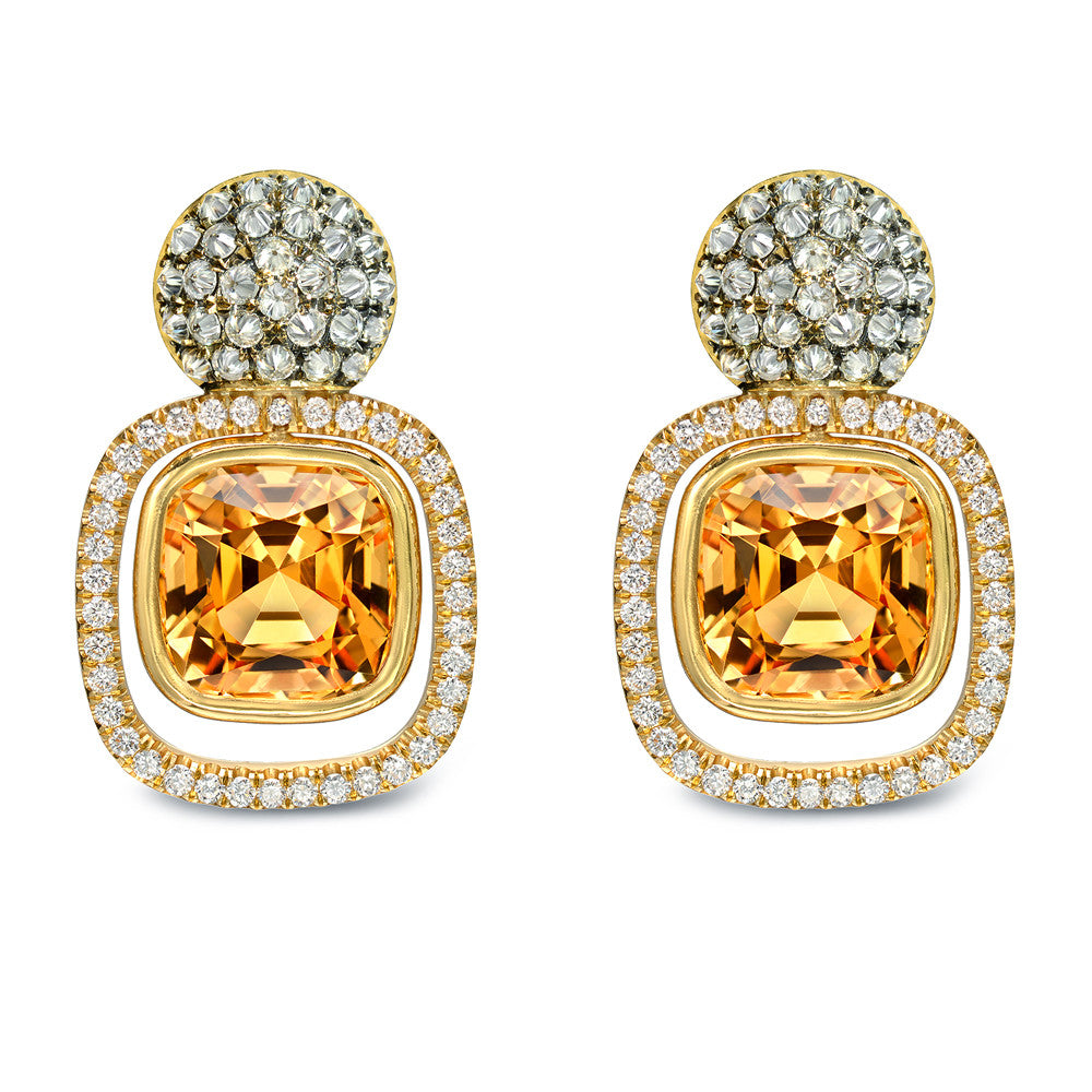 18K Yellow Gold Topaz Earrings with Diamonds