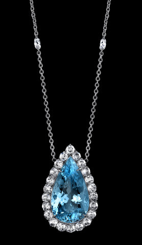 Platinum Aquamarine Necklace with Diamonds