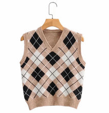 Load image into Gallery viewer, Argyle Sweater Vest - Beige