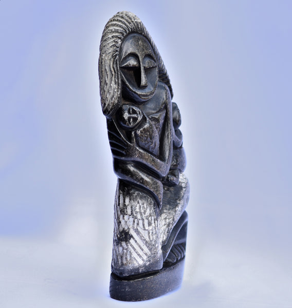 Handmade African Mother & Children Scultpure - Zambezi Stone