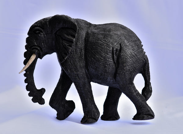 African Wooden Elephant Sculpture