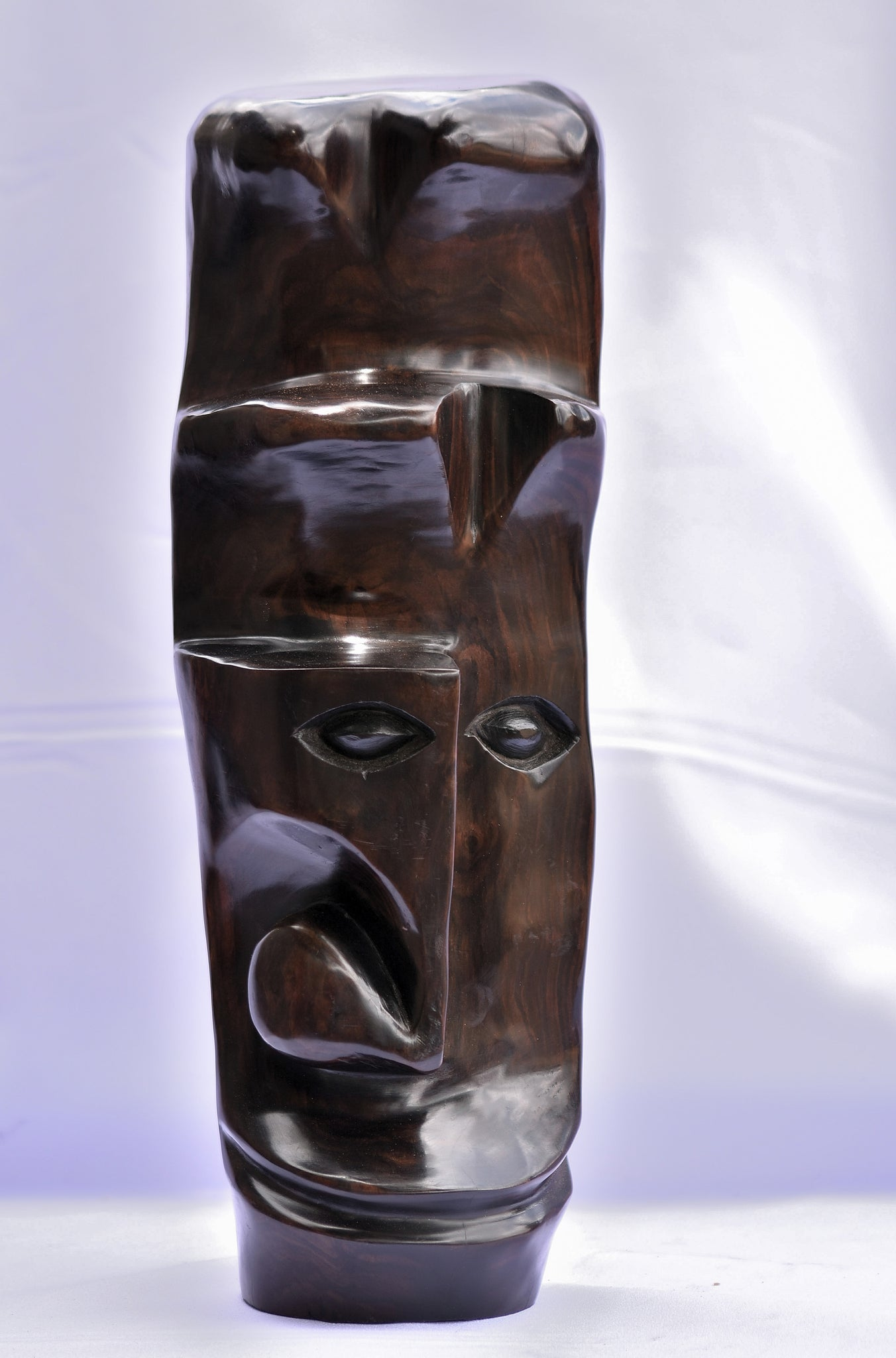 Handmade African Abstract Face Sculpture - Ebony Wood - Moses Chikoti