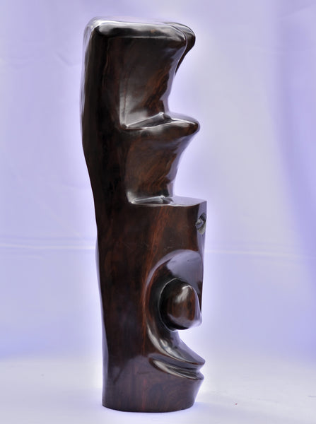 Handmade African Abstract Face Sculpture - Ebony Wood
