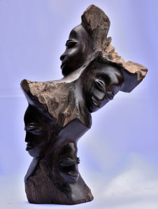"Handmade ""Extended family"" Ebony Wood Abstract Sculpture"