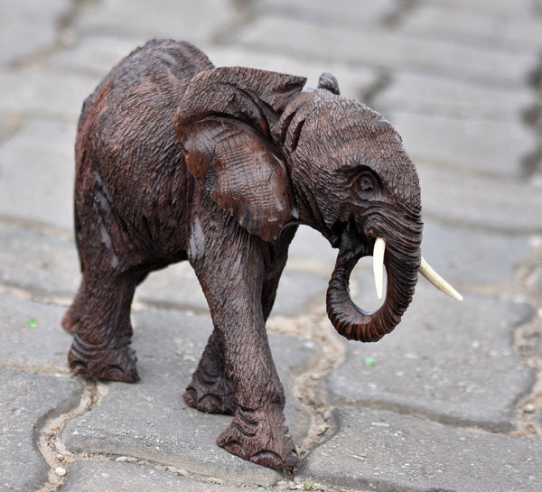 Detailed, Handmade African Elephant Sculpture - Moses Chikoti