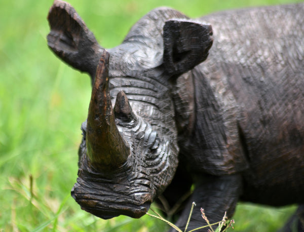 Detailed, Handmade African Rhino Wood Carving