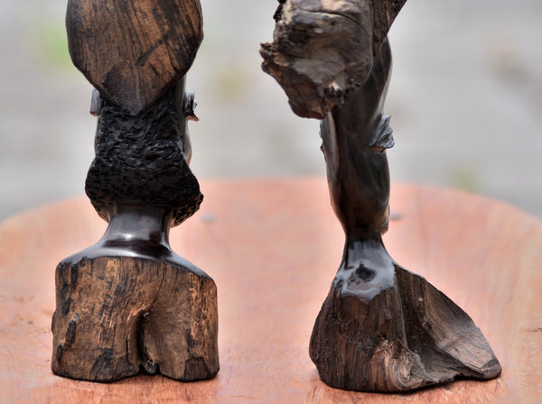 Handmade African Chief & Wife Sculpture - Ebony Wood Roots Carving