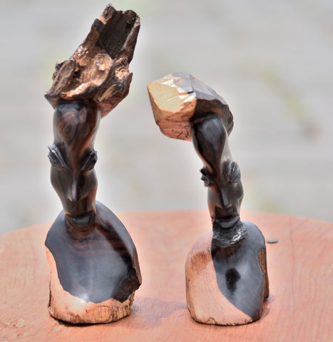 Handmade African Chief & Wife Sculpture Made From Ebony Wood Roots Carving