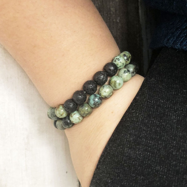 Unisex Beaded Lava Rock Bracelet Gift for Him - African Turquoise Bracelet for Men Set of 2 Stacking Bracelets