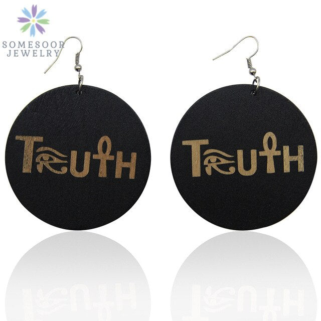"Engraving Handmade African Wood Earrings - Afrocentric ""Truth"" Design"