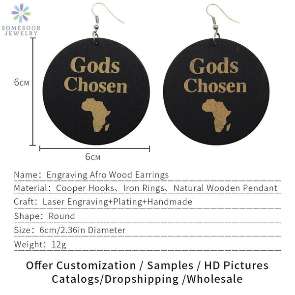 "Handmade Engraved ""God's Chosen"" Afro Wood Drop Earrings With African Map - Moses Chikoti"